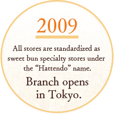 "SINCE2009 All stores are standardized as sweet bun specialty stores under the ""Hattendo"" name. Branch opens in Tokyo."
