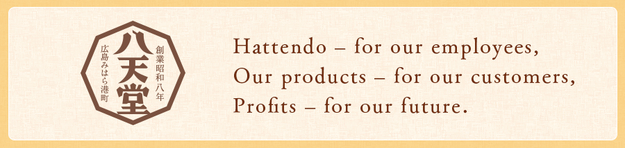 Hattendo – for our employees, Our products – for our customers, Profits – for our future.