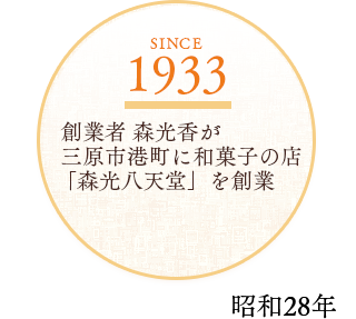 1933  創業者 森光香が 三原市港町に和菓子の店「森光八天堂」を創業